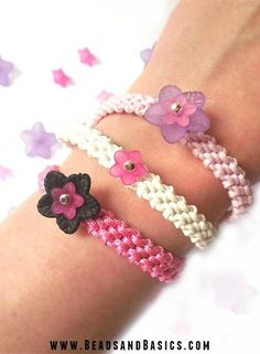 Friendship bracelet - pink and white-  Flower Beads -  DIY + Materials to make your own at www.beadsandbasics.com