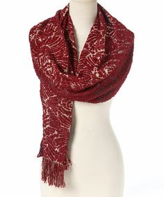 Another great find on #zulily! Bordeaux Floral Fringe Shawl #zulilyfinds