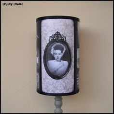 Frankensteins Bride lamp shade Lampshade - halloween decor, horror decor, horror movie, goth decor, damask lamp shade via Etsy Going to get his/her side lamps. A little pricey but will be worth it.