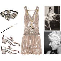 Mini vestido, accesorios, zapato de tacón bajo! #Años20