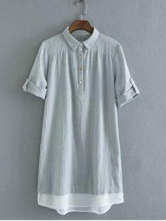 Brief Polo Collar Color Block Short Sleeve Women's Dress
