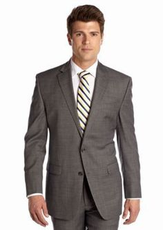 Chaps Gray Classic Fit Sharkskin Suit Separate Jacket