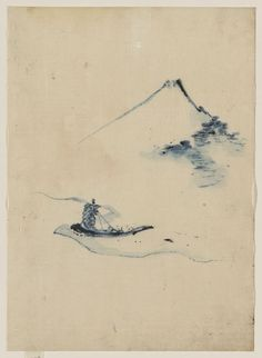 """rerylikes: """" Katsushika Hokusai (1760-1849). A person in a small boat on a river with Mount Fuji in the background, between 1830 and 1850 """""""
