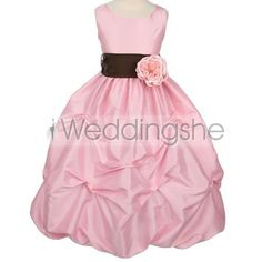 Pretty Ball Gown Floor-length Square Ruched Flower Embellishing Flower Girl Dress(Free Shipping)