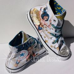 Wonder Woman Converse custom designed with genuine Swarovski Crystals. These are the hottest Wonder Woman Converse Sneakers anywhere.   Jezelle.com