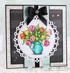 Tulips in Hobnail Pitcher Digital Stamp Set | Power Poppy by Marcella Hawley, card design by Tosha Leyendekker.
