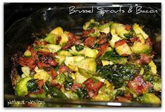 Brussel Sprouts with caramelized onions(add to recipe, subtract thyme, use fresh garlic instead of powder), and bacon