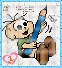 Pixel Crochet Blanket, Love Bugs, Cross Stitch Patterns, Quilts, Fictional Characters, Chico Bento, Internet, Mini Cross Stitch, Cross Stitch For Baby