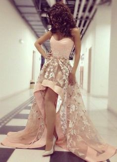 2016 Hi-Lo Prom Dresses Pink Sweetheart Neck Arabic Pageant Dresses Evening…