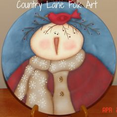 Hand painted snowman plate