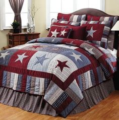 Americana Bedroom Patriotic Decorating Ideas   Stars N Stripes Bedroom  Decorating Patriotic Theme Rooms   Americana Country Cottage Furniture    Rustic Lodge ...