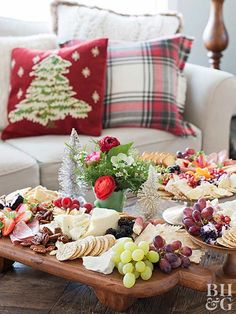 A gorgeous cheese platter is a simple way to please multiple palates. Set out an assortment of cheese, crackers, fruits, nuts, meats, and more for guests to nosh on as they work.
