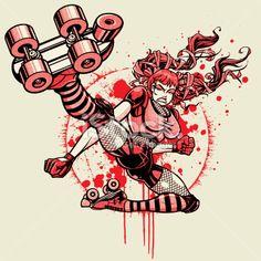 Roller Derby Girl - Flying Kick: 3 color Halftone Version Artes e ilustrações vetoriais livres de royalties