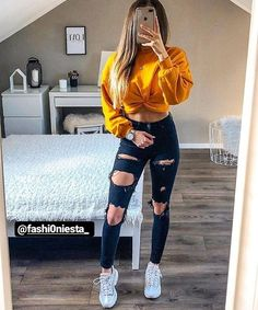 young girl wearing blue ripped jeans, yellow sweatshirt and white . - young girl wearing blue ripped jeans, yellow sweatshirt and white sneakers – - Teen Fashion Outfits, Outfits For Teens, Fall Outfits, Fashion Ideas, Trendy Clothes For Teens, Teen School Outfits, Teen Girl Clothes, White Girl Outfits, Spring Outfits For Teen Girls