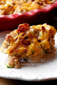 The Kitchen Whisperer Breakfast Egg Sausage Bacon Cheddar Casserole- made this on Christmas with Hawaiian bread. So delish. Breakfast Buffet, Breakfast Time, Best Breakfast, Bacon Breakfast, Vegetarian Breakfast, Breakfast Burritos, Bacon Sausage, Sausage And Egg, Bacon Egg