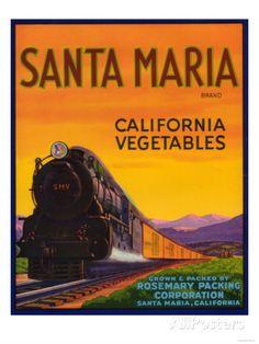 Santa Maria Vegetable Label - Santa Maria, CA Poster at AllPosters.com