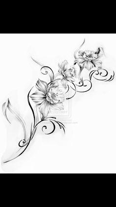 Gladiolus Tattoo On Foot