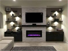 18 ideas for living room tv wall decor ideas fireplaces Living Room With Fireplace, New Living Room, Home And Living, Tv Wall Ideas Living Room, Modern Living, Living Room Ideas Electric Fireplace, Wall Shelving Living Room, Living Room Wall Lighting, Kitchen With Living Room