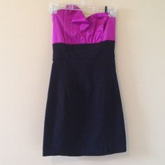 Purple and Black Semi formal dress! Worn once! Great condition! Perfect for a dance or night out! Or any fun, classy event! Optional straps! I can model it if needed! It's not a problem just ask!💜➡➡➡The price is negotiable and I will consider ALL offers!⬅⬅⬅ perfect for homecoming!! Dresses Strapless