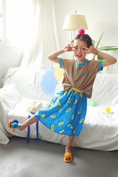 AeHem Avocado Skirt in 3 colors at Color Me WHIMSY - contemporary kid's clothes ethically made in South Korea Korean Skirt, Baby Mine, Bold Colors, South Korea, Dress Skirt, Avocado, Kids Outfits, Girl Fashion, Comfy