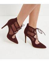 Dark Red Suedette Mesh Panel Ghillie Heels  | New Look