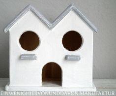 Vogelhaus Shabby Grey & White von Ein wenig hiervon & davon auf DaWanda.com