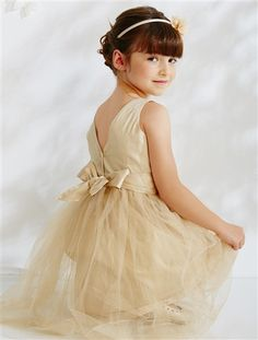 Tulle & Cotton Satin Special Occasion Dress WHITE+Beige