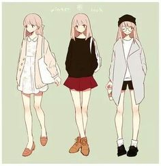 Tiny butt-fruit manga in 2019 anime, drawing clothes, anime Anime Outfits, Girl Outfits, Casual Outfits, Spring Outfits, Winter Outfits, Manga Clothes, Drawing Anime Clothes, Character Outfits, Character Art