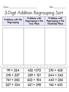 2-digit and 3-digit Addition Regrouping Sorts