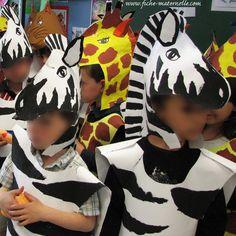 Maternelle : thème du carnaval. Se pueden hacer con bolsas de plástico estos disfraces de jirafa y cebra http://www.multipapel.com/producto-Bolsas-de-basura-de-colores-para-disfraces.htm