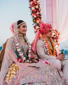 An Elegant Udaipur Wedding With Pastel Theme & A Poolside Mandap Indian Wedding Couple, Indian Bride And Groom, Bride Groom Photos, Asian Bride, Indian Bridal Outfits, Bridal Dresses, Bridal Looks, Bridal Style, Indian Wedding Photography Poses
