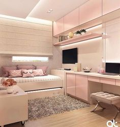 6 Creative Tips on How to Make a Small Bedroom Look Larger Bedroom Decor For Teen Girls, Cute Bedroom Ideas, Cute Room Decor, Room Ideas Bedroom, Girl Bedroom Designs, Small Room Bedroom, Home Decor Bedroom, Teen Bedroom, Home Room Design