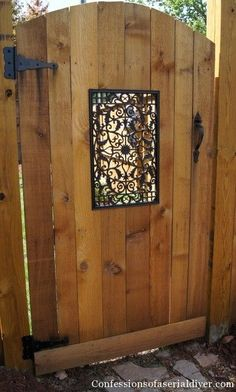 That would be beautiful on the side yard we're going to fence off.DIY How to build a gate tutorial ~ awesome instructions and photos of how this woman built this gate by herself ~ attached link for the rod iron window Dream Garden, Garden Art, Home And Garden, Garden Design, Fence Design, Outdoor Projects, Home Projects, Building A Gate, Jardin Decor