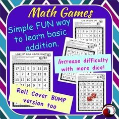 This printable Math game is a popular activity for Math Centers. Addition facts in a ROLL COVER BUMP Game. It caters for all children because There are different levels of difficulty.