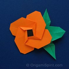 Video tutorial by Leyla Torres of Origami Spirit for origami flower resembling the Spanish Eye (Thunbergia Alata) flower, with matching leaf.