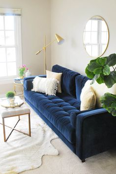 Sven Cascadia Blue Sofa Our new home has a large open area at the top of the stairs which will be an upstairs hangout for our kids, so the bright blue has the perfect fun vibe for that space. Photo by Eleven Magnolia Lane. Blue Couch Living Room, Home Living Room, Living Room Designs, Living Room Furniture, Blue And Gold Living Room, Rustic Furniture, Cheap Furniture, Living Room Ideas Navy Sofa, Online Furniture