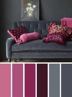 Best Living Room Color Scheme Ideas and Inspiration Living room color scheme ideas. The idea of a living room color scheme is needed to provide a new atmosphere for your family. The first step you have to do - Dark Grey Pink Living Room Color Scheme Ideas Living Room Colour Design, Good Living Room Colors, Living Room Color Schemes, Living Room Grey, Living Room Designs, Interior Design Color Schemes, Interior Colors, Purple Living Rooms, Grey Living Room Ideas Colour Palettes