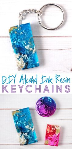 DIY Alcohol Ink Resin Keychains, DIY and Crafts, DIY Alcohol Ink Resin Keychains. How to use alcohol ink and resin to make stylish keychains. These handmade keychains would make the perfect gift! Alcohol Ink Crafts, Alcohol Ink Painting, Alcohol Ink Art, Alcohol Ink Jewelry, Diy Resin Art, Diy Resin Crafts, Crafts To Make, Decor Crafts, Stick Crafts