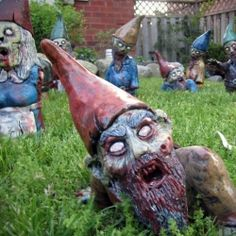 Zombie Garden Gnomes are a playful decoration for your front lawn.