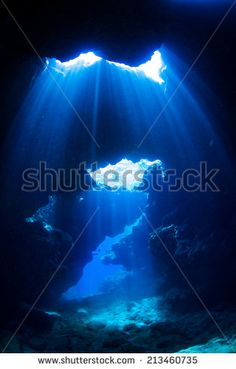 Curtains of light in underwater - stock photo