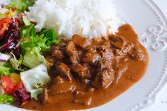 Gräddig lövbiffsgryta Chana Masala, Lchf, Thai Red Curry, Chili, Dinner Recipes, Food And Drink, Soup, Dishes, Meat