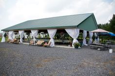 A pavilion decorated like a tent for our wedding reception.