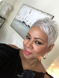 Oh my, reminds me of when I wore hair in this style. So cute as pictured on beautiful lady! Sista, YOU'RE owning that awesome cut! Short Silver Hair, Short Sassy Hair, Silver Grey Hair, Short Grey Hair, Cute Hairstyles For Short Hair, Short Hair Cuts, Curly Hair Styles, Natural Hair Styles, Short Pixie