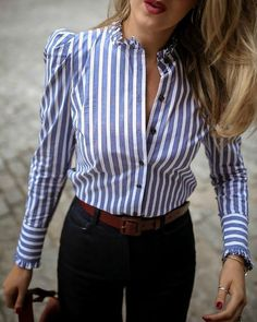 Striped Puffed Sleeve Frill Hem Casual Blouse trends Plus 2019 Size,fall fashion trends Dresses,fall fashion trends Boots,Over fashion trends Inspiration,fall Mode Outfits, Fashion Outfits, Trend Fashion, Women's Fashion, Fashion Styles, Womens Fashion Online, Mode Style, Pattern Fashion, Casual Shirts