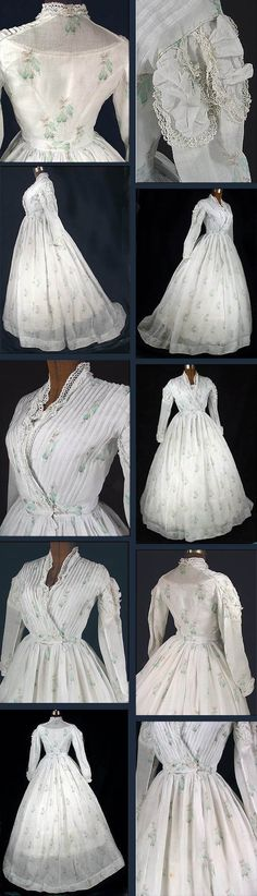 Summer dress ca. Sheer white cotton voile printed with light aqua and brown fuchsias and trimmed with linen bobbin lace. Bodice lined in white linen; Skirt has deep side pocket and small watch pocket at waist. Antique Dress v 1800s Fashion, 19th Century Fashion, Victorian Fashion, Vintage Fashion, Vintage Outfits, Vintage Gowns, Mode Vintage, Vintage Shorts, Dress Vintage