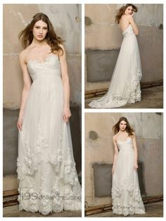 Floor Length Strapless Criss-cross Sweetheart Droped Empire Wedding Dresses