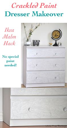 You will not believe how she got this amazing crackled paint finish without using any fancy paint!! It is an Ikea Malm Hack too!