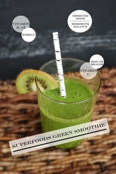 Superfood Green Smoothie #Dates #Kiwi #Healthy | http://your-amazing-cooking-tips.blogspot.com