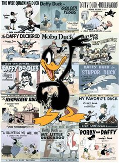 """Daffy Duck: Lobby Card"" a limited edition hand-painted cel is modeled after one of the most enduring characters in the classic Warner Bros. Daffy Duck appeared in over 135 cartoons. Looney Tunes Cartoons, Disney Cartoons, Warner Bros Studios, Star Character, Morning Cartoon, Daffy Duck, Popular Art, Classic Cartoons, Disney Art"