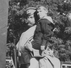 Tsarevich Alexei with his father, Tsar Nicholas II